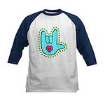 Aqua Dotty Love Hand Kids Baseball Jersey