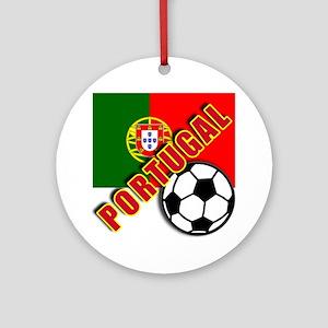 World Soccer PortugalTeam T-shirts Ornament (Round