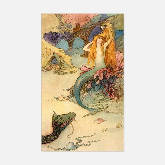 Vintage Mermaid Sticker (Rectangle)