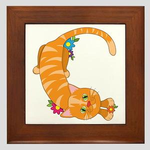 Animal Alphabet Cat Framed Tile