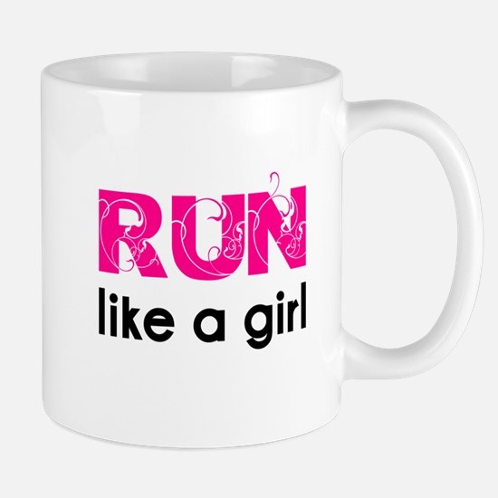 running_swirl_sticker Mugs