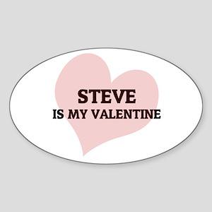 Steve Is My Valentine Oval Sticker