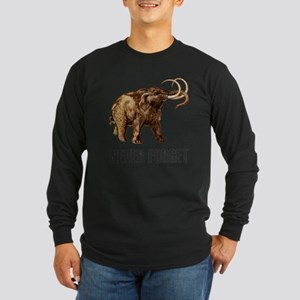 Never Forget Woolly Mammoth Long Sleeve Dark T-Shi