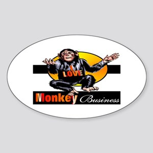 Love Monkey Business Oval Sticker