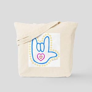 Blue Dotty Love Hand Tote Bag