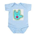 Aqua Dotty Love Hand Infant Creeper