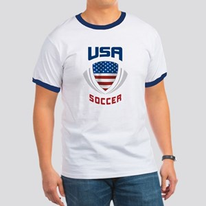 Soccer Crest USA blue Ringer T