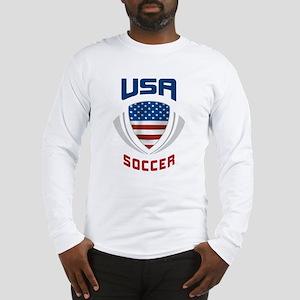 Soccer Crest USA blue Long Sleeve T-Shirt