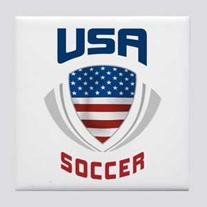 Soccer Crest USA blue Tile Coaster