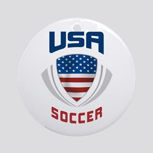 Soccer Crest USA blue Ornament (Round)