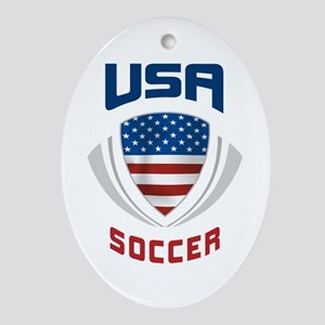 Soccer Crest USA blue Ornament (Oval)