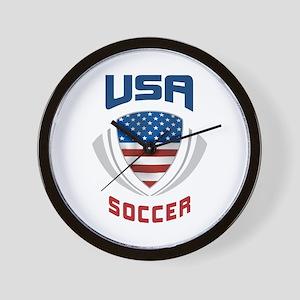 Soccer Crest USA blue Wall Clock