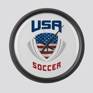 Soccer Crest USA blue Large Wall Clock