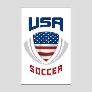 Soccer Crest USA blue Mini Poster Print