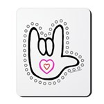 Black/Red Dotty Love Hand Mousepad