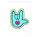 Aqua Dotty Love Hand Postcards (Package of 8)