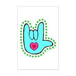Aqua Dotty Love Hand Mini Poster Print