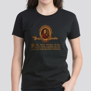 Ben Franklin on Security and Women's Dark T-Shirt