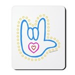 Blue Dotty Love Hand Mousepad