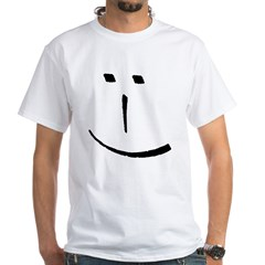 Modern Smiley Face White T-Shirt