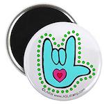 Aqua Dotty Love Hand Magnet