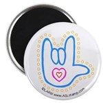 Blue Dotty Love Hand Magnet