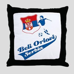Serbian soccer Throw Pillow