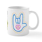 Blue Dotty Love Hand Mug