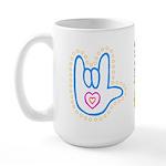 Blue Dotty Love Hand Large Mug