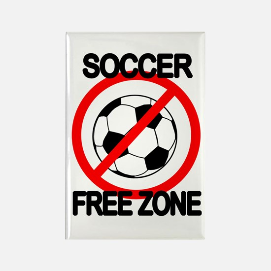 Soccer Free Zone Rectangle Magnet