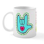 Aqua Dotty Love Hand Mug