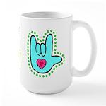 Aqua Dotty Love Hand Large Mug