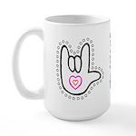 Black/Red Dotty Love Hand Large Mug
