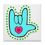 Aqua Dotty Love Hand Tile Coaster