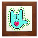 Aqua Dotty Love Hand Framed Tile