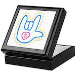 Blue Dotty Love Hand Keepsake Box