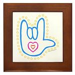 Blue Dotty Love Hand Framed Tile
