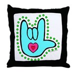 Aqua Dotty Love Hand Throw Pillow