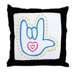 Blue Dotty Love Hand Throw Pillow
