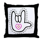 Black/Red Dotty Love Hand Throw Pillow