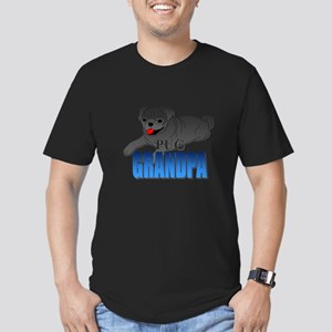 Black Pug Grandpa Men's Fitted T-Shirt (dark)