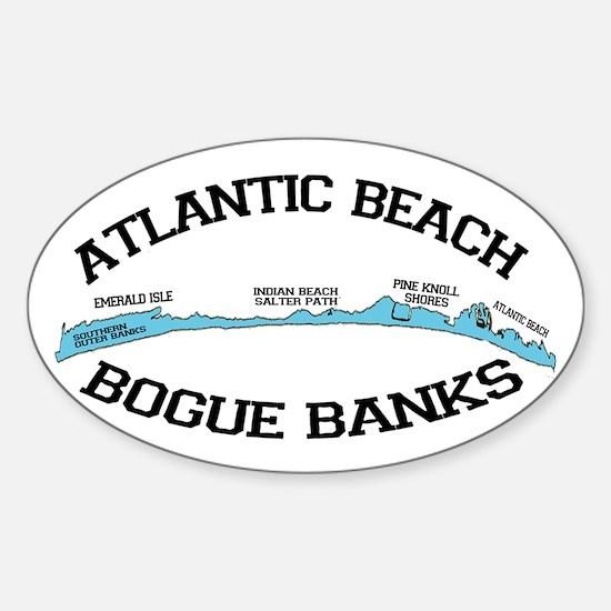 Atlantic Beach NC - Map Design Sticker (Oval)