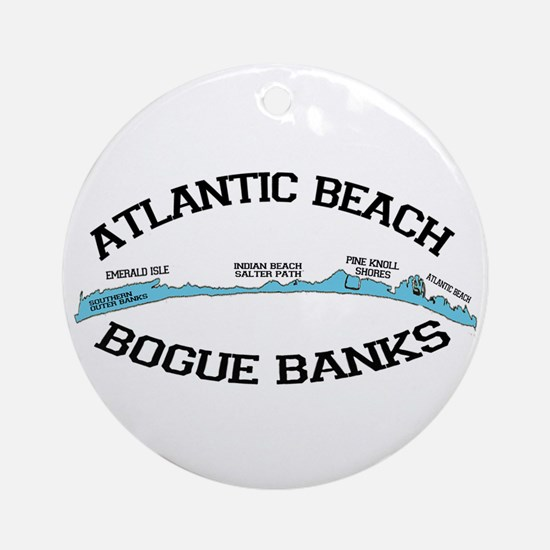 Atlantic Beach NC - Map Design Ornament (Round)