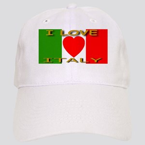 I Love Italy Heart Flag Cap