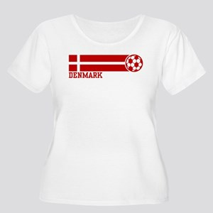 Denmark Soccer Women's Plus Size Scoop Neck T-Shir