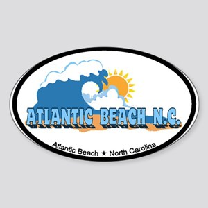 Atlantic Beach NC - Waves Design Sticker (Oval)