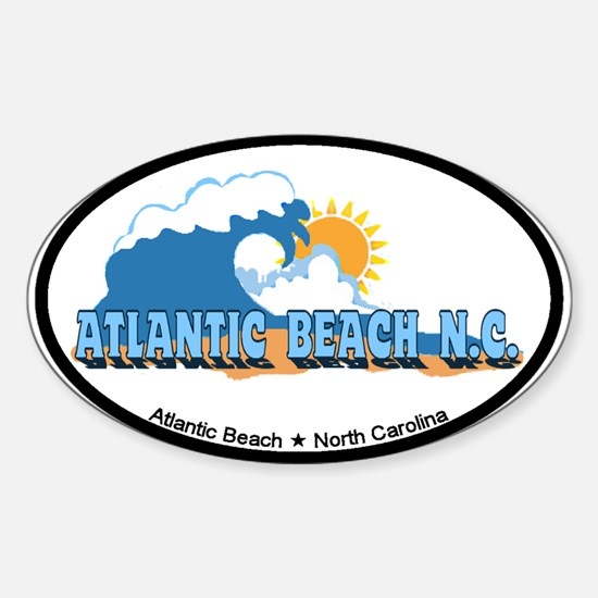 Atlantic Beach NC - Waves Design Sticker (Oval)