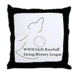 WWII Girls Baseball League Throw Pillow