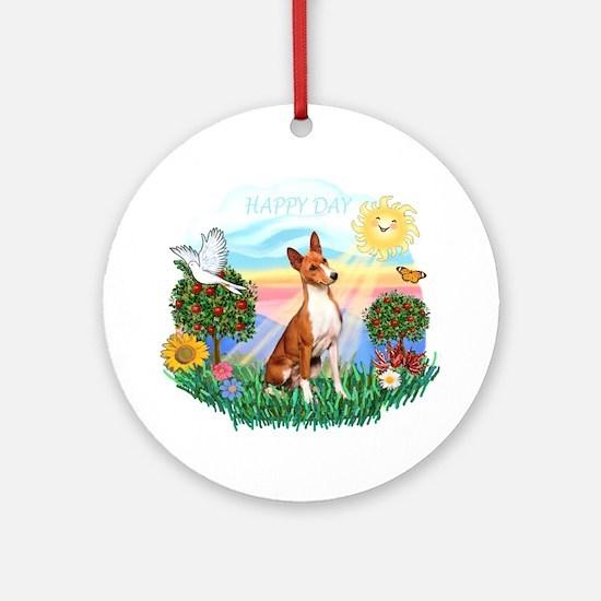 Happy Day Basenji Ornament (Round)