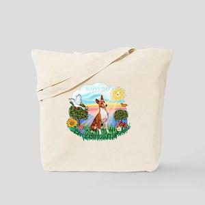 Happy Day Basenji Tote Bag